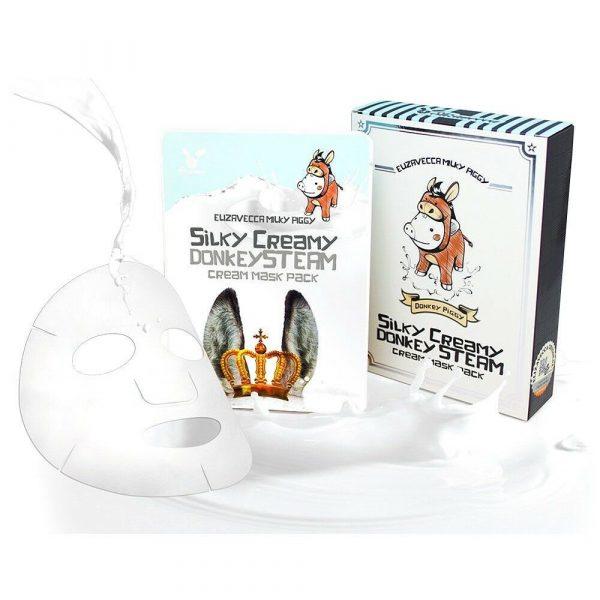 Маска тканевая с паровым кремом Elizavecca Silky Creamy donkey Steam Cream Mask Pack