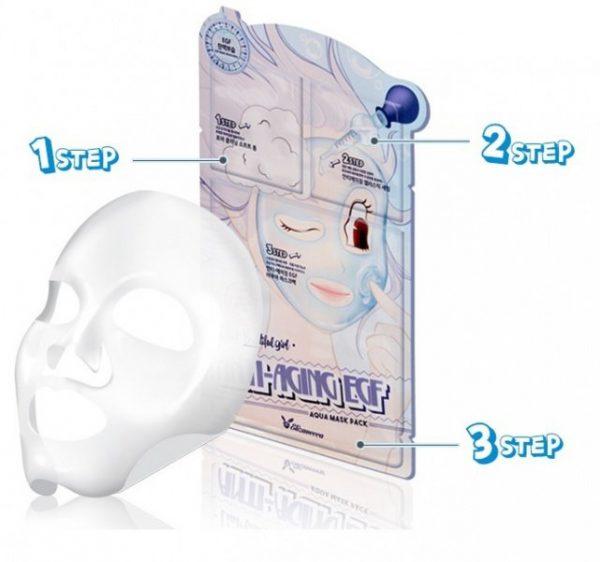 Маска для лица антивозрастная 3-ступенчатая Elizavecca 3-step Anti-Aging EGF Mask Pack, 10 шт.