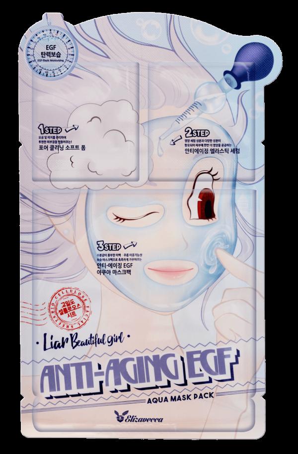 Маска для лица антивозрастная 3-ступенчатая Elizavecca 3-step Anti-Aging EGF Mask Pack, 1 шт.