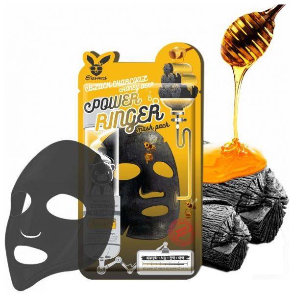 Маска для лица тканевая с древесным углем и медом Elizavecca Black Charcoal Honey Deep Power Ringer Mask Pack, 23 мл.